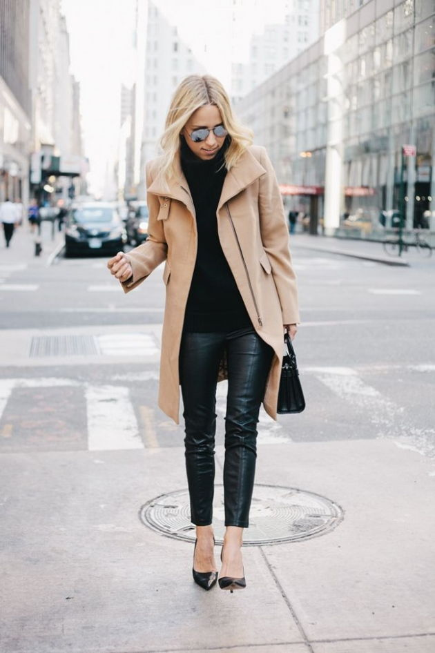 Tuesday: Tight, black pants, comfortable lounge suits, with a black camisole shirt and coat, are a perfect hit for a laid-back fall day.